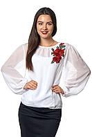 Женская блузка с длинным рукавом из шифона  Ксения А1   фасон  в размерах от 44 до 56 белая