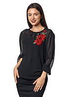Женская блузка с длинным рукавом из шифона  Ксения А2 фасон  в размерах от 44 до 56 белая