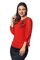 Женская блузка с длинным рукавом из шифона  Ксения А3 фасон  в размерах от 44 до 56 белая