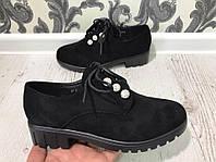 Стильные ботинки с красивыми украшениями. Материал: эко замш/лак. В двух цветах. Р-р 36-40.