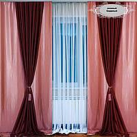 Готовые шторы для спальни из атласа