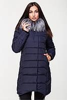 Удлинённая женская тёплая куртка  44, Темно-синий