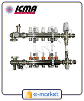 Коллектор для теплого пола на 11 контура ICMA (в сборе). Производства Италия.