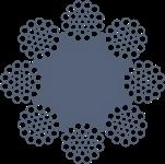 Канат стальной двойной свивки ЛК-Р0 8х31(1+6+6/6+12)+1о.с. ТУ 14-4-448-91