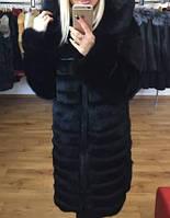 Шуба из меха черного кролика, фото 1