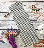 Трикотажное платье-база с воротником-стойкой в легкий полосатый принт  DR3218