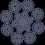 Канат стальной оц двойной свивки ЛК-РО 8х36(1+7+7/7+14)+6х19(1+9+9)+1о.с. ТУ 14-4-722-76