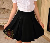 Юбка из поливискозы с боковыми карманами синяя и чёрная школьная форма 116