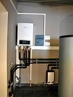 Запуск еще одной котельной (г. Николаев). Основной источник тепла тепловой насос воздух-вода Buderus Logatherm WPL 17 кВт (Германия). Дополнительный источник тепла дровяной камин с водяным контуром Hoxter 15 кВт (Германия).