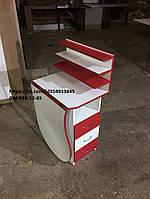 """Маникюрный стол """"Стандарт"""" с 3полками для лаков, складной в бело-красном цвете"""