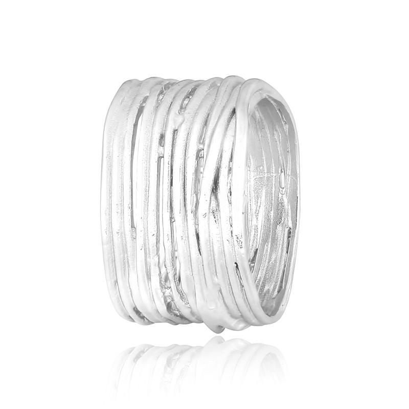 "Серебряное родированное кольцо ""457"""