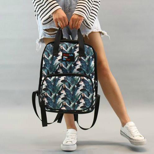 Сумка-рюкзак с ярким принтом листьев