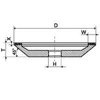 Круг алмазный чашечный конический 12А2-45 150х40х10х3х32 АС4 100/80 В2-01 100%