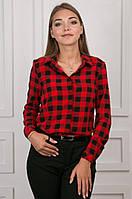 Молодежная блуза в клетка с длинным рукавом