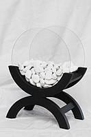 Биокамин LUNA black чёрный деревянный корпус, круглые стёкла.