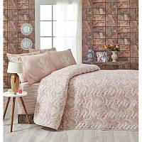 Покрывало стеганное с наволочками Eponj Home - Pure Pudra розовое 200*220