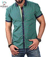 Мужская клетчатая зеленная рубашка от производителя