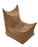 Бежевое бескаркасное кресло трон из кож зама Зевс