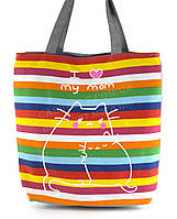 Легкая льняная пляжная женская сумка art. Лён кошка с котенком (100179)