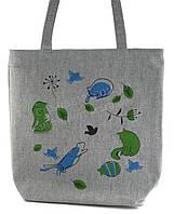 Легкая льняная пляжная женская сумка art. Лён синие и зеленые кошки(100178)