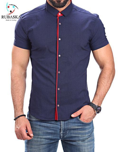 Стильная мужская  рубашка рубашка с красным воротником хит продаж