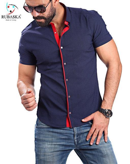 367d306df9f58eb Стильная мужская рубашка рубашка с красным воротником хит продаж, ...