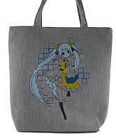 Легкая льняная пляжная женская сумка art. Лён девочка с синими волосами (100177)