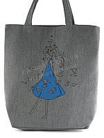 Легкая льняная пляжная женская сумка art. Лён девочка в синемплатье(100190)