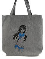 Легкая льняная пляжная женская сумка art. Лён девочка с поднятой рукой (100189)