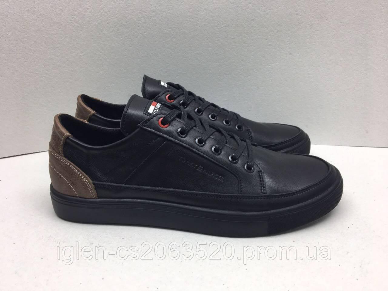 Мужские кожаные кроссовки Tommy Hilfiger черно-карамельный -  Интернет-магазин мужской обуви оптом