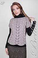 Модная вязанная женская жилетка с ажурным узором