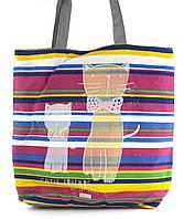 Легкая льняная пляжная женская сумка art. Лён кот и котенок (100181)