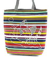 Легкая льняная пляжная женская сумка art. Лён котенок в прыжке (100175)