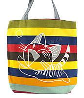 Легкая льняная пляжная женская сумка art. Лён котенок в прыжке (100151)