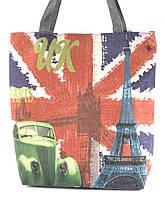 Легкая льняная пляжная женская сумка art. Лён Англия (100164)
