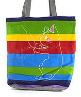 Легкая льняная пляжная женская сумка art. Лён кошечька (100138)