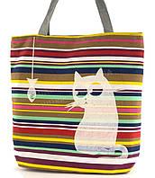 Легкая льняная пляжная женская сумка art. Лён кошка и рыбка (100188)