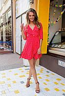 Женское красное платье с рюшами в горошек. Ткань: коттон. Размер: универсальный смл.