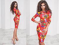 Платье женское облегающее с цветочным принтом, материал - французский трикотаж, цвет - красный