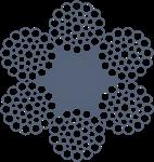 Канат стальной оц для шахтных машин ЛК-РО 6хЗ6(1+7+7/7+14)+1о.с. ТУ У 28.7-00191046-009-2003