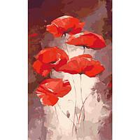 """Акриловий живопис за номерами КНО 2917 """"Червоні маки"""" полотно 30*50 см без коробки ТМ Ідейка"""