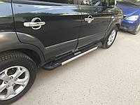 Hyundai Tucson JM 2004+ гг. Боковые площадки RedLine V2 (2 шт., алюминий)