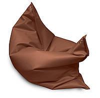 Коричневое кресло мешок подушка 120*140 см из кож зама, кресло-мат