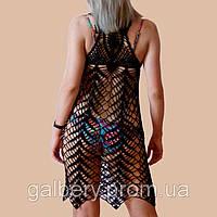 Вязаная туника - сарафан с ажурным принтом на спине черного цвета