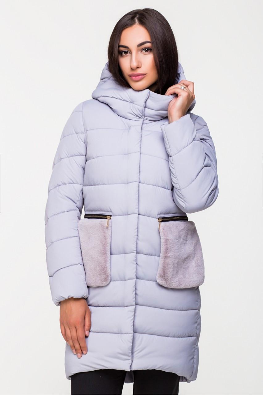 b33a5dcc6b7 Куртка женская Kattaleya с меховыми карманами KTL-112 серая ( 743) -  KATTALEYA