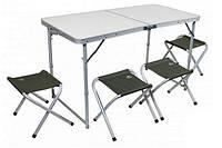 Набор мебели Pinguin SET TABLE + 4 STOOLS GREEN (стол и 4 стула), алюминий+полиэстр, зеленый PNG 621006 GREEN