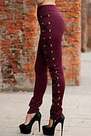 Бордовые леггинсы украшенные шнуровкой