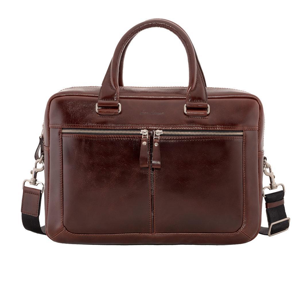 Деловая сумка Issa Hara B23 из натуральной гладкой кожи Коричневый