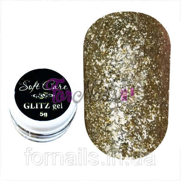 Soft Care GLITZ gel №004 Gold, 5 g