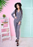 Костюм женский в пижамном стиле пиджак и брюки лен-костюмка 2 цвета 6Db591